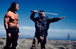 Arnold-Schwarzenegger-and-John-Milius-on-the-set-of-Conan-the-Barbarian