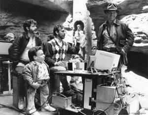 George-Lucas-Warwick-Davis-Steven-Spielberg-and-Harrison-Ford-on-the-set-of-Indiana-Jones-and-the-Last-Crusade