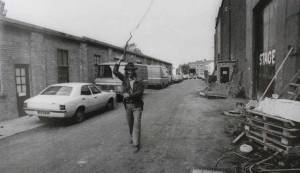 Harrison-Ford-practicing-his-whip-skills-outside-Elstree-Studios