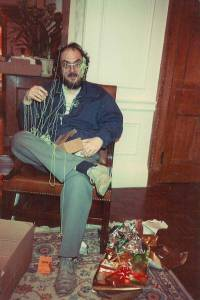 Stanley-Kubrick-covered-in-silly-string-by-his-daughter-on-Christmas-1983
